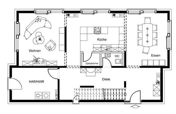 Erdgeschoss FN 80 140 B V1 von OKAL Haus GmbH