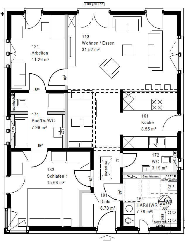 Erdgeschoss FP 094-118 A 90 von OKAL Haus GmbH
