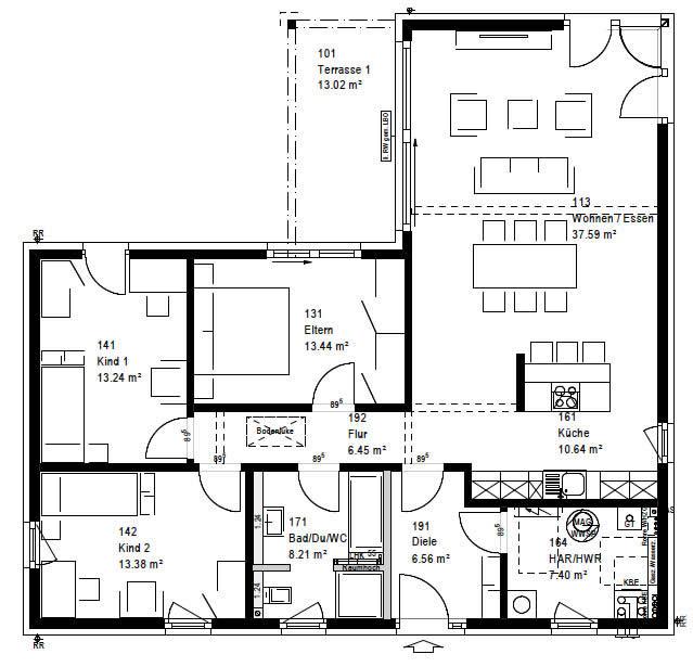 Erdgeschoss FP 82-136 AV2 90 von OKAL Haus GmbH