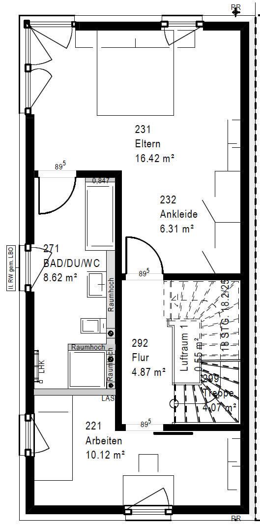 Obergeschoss FT 118-055 B 90 von OKAL Haus GmbH