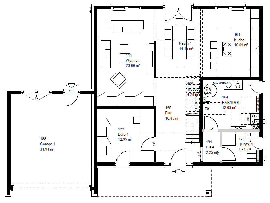 Erdgeschoss FZ 106-112 B V6 90 von OKAL Haus GmbH