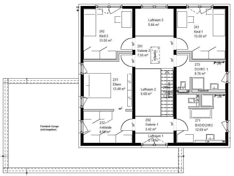Obergeschoss FZ 106-112 B V6 90 von OKAL Haus GmbH