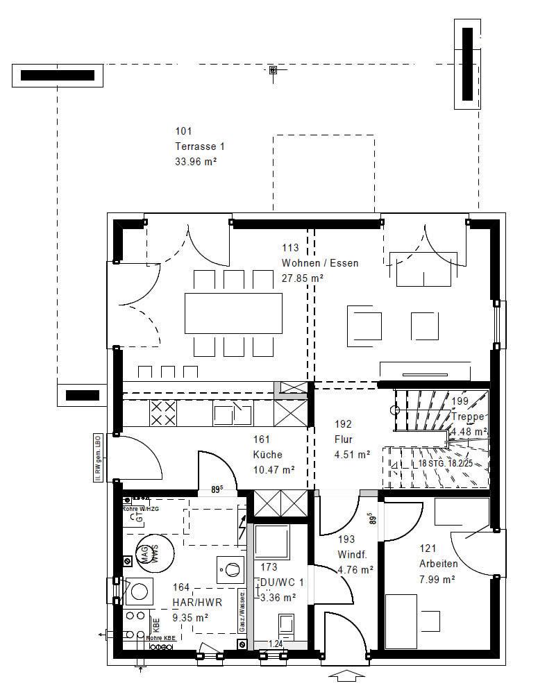 Erdgeschoss FZ 88-100 B V5 90 von OKAL Haus GmbH