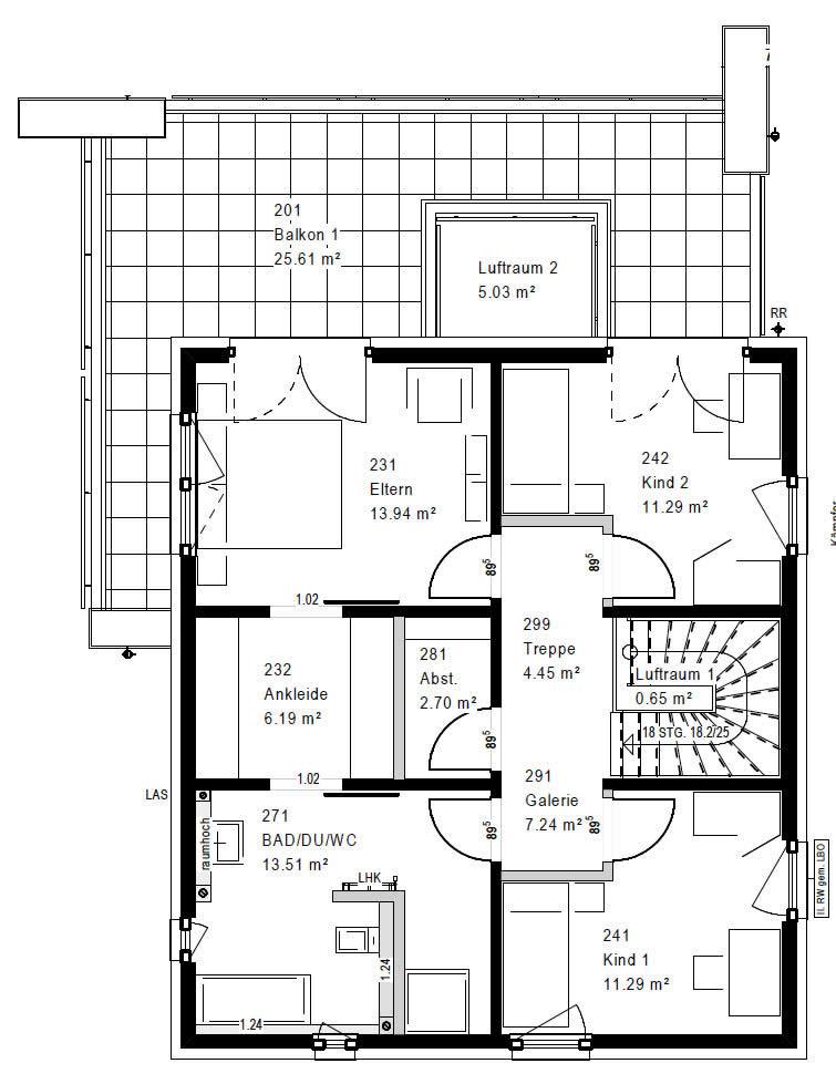 Obergeschoss FZ 88-100 B V5 90 von OKAL Haus GmbH