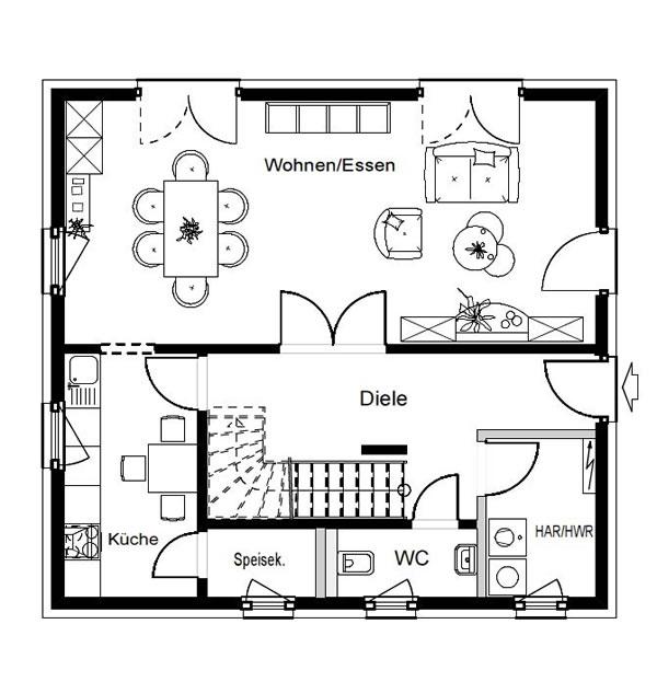 Erdgeschoss F 86-92 B V2 von OKAL Haus GmbH