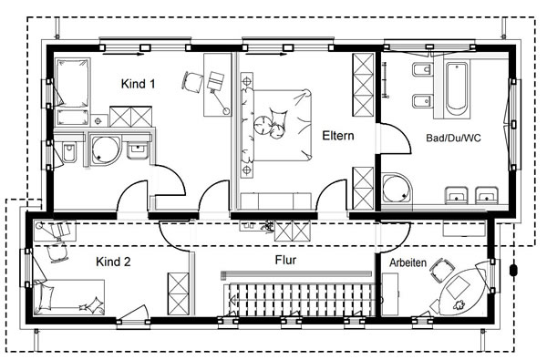 Obergeschoss FN 80-140 B V4 von OKAL Haus GmbH