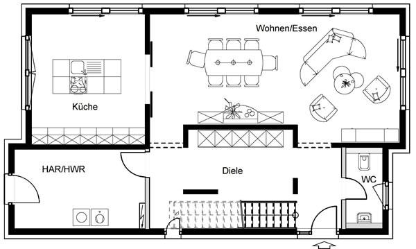 Erdgeschoss FN 80-140 B V4 von OKAL Haus GmbH