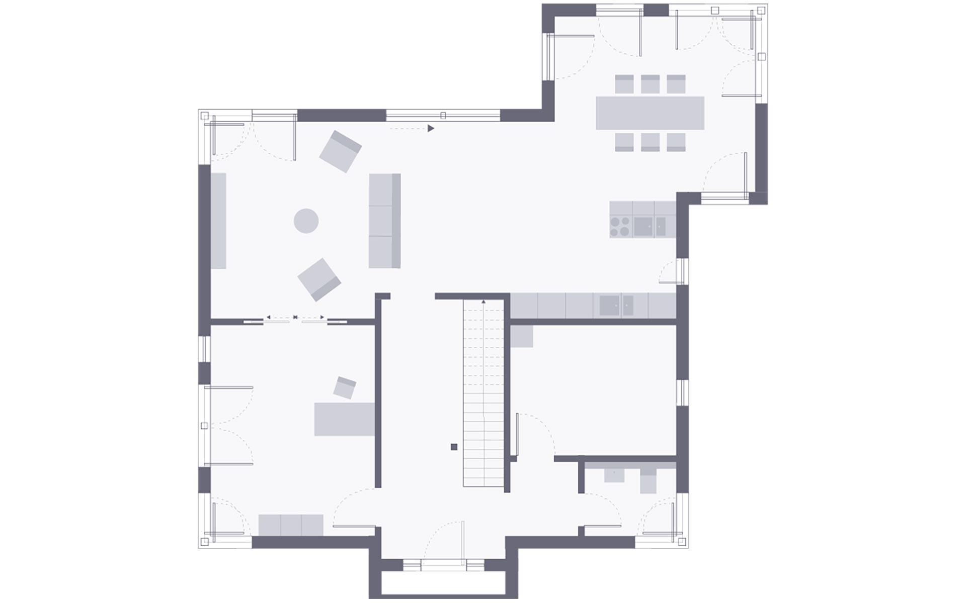 Erdgeschoss Musterhaus Frechen bei Köln von OKAL Haus GmbH