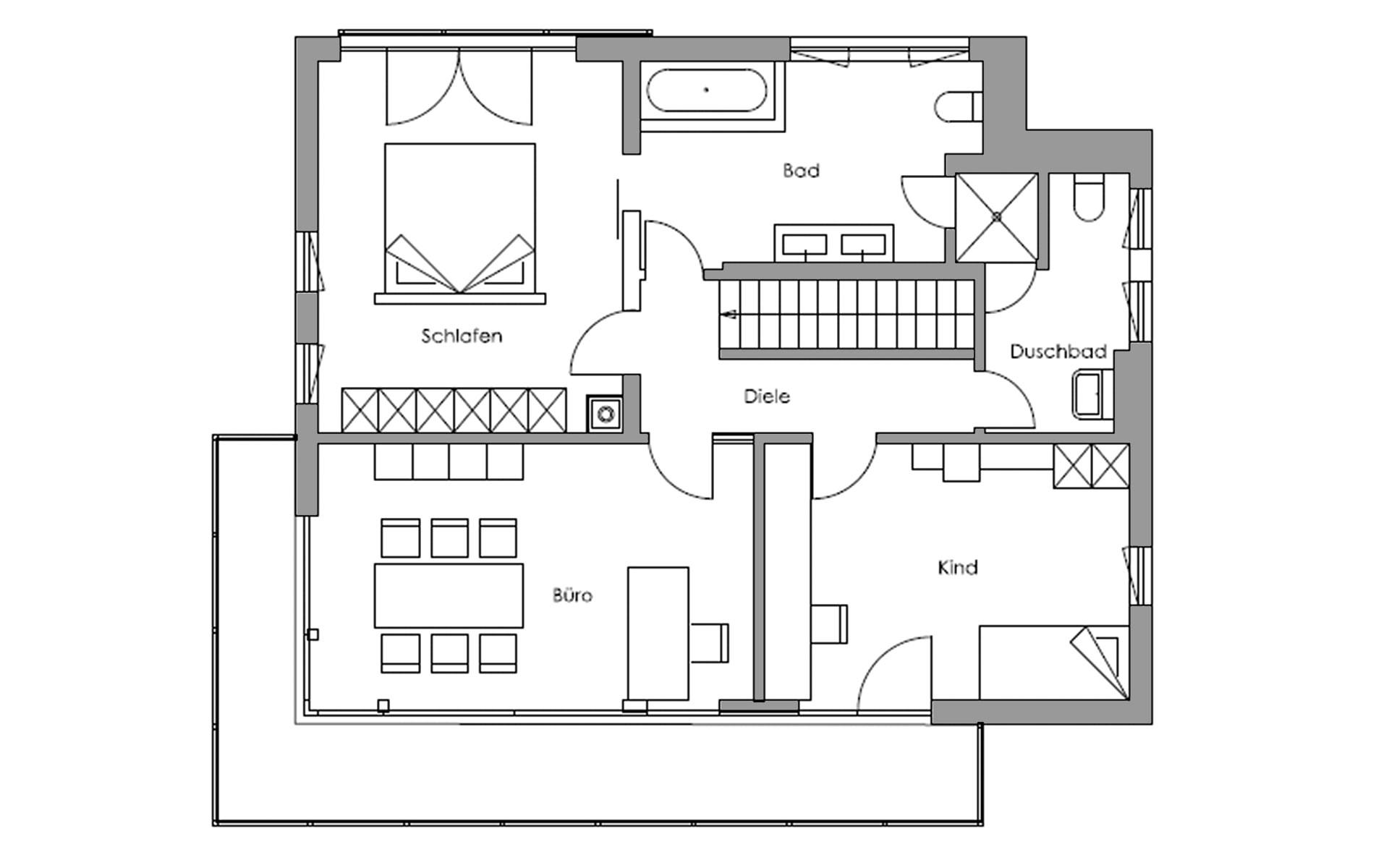 Obergeschoss Vita-Cube - Fellbach von Regnauer Hausbau GmbH & Co. KG