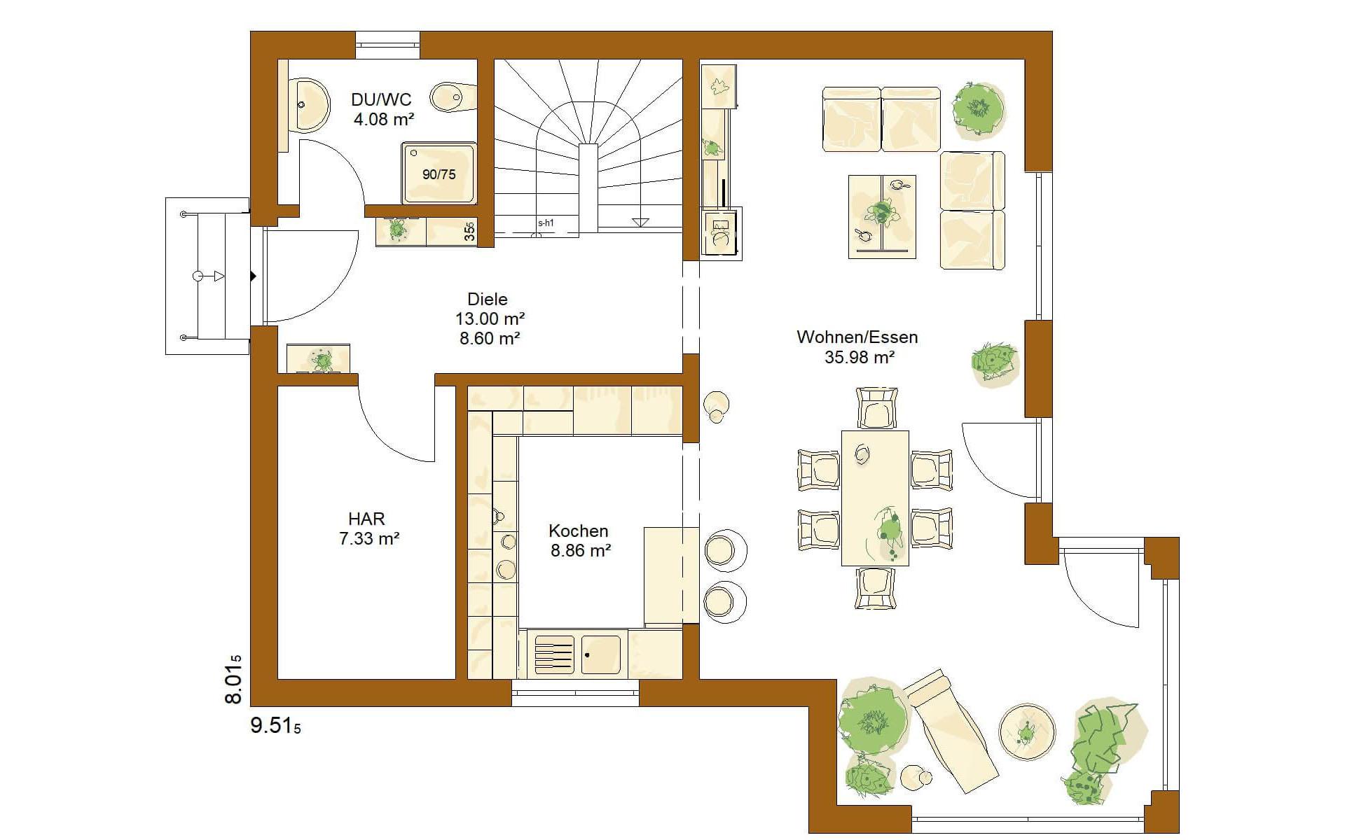Erdgeschoss CLOU 119 von RENSCH-HAUS GMBH