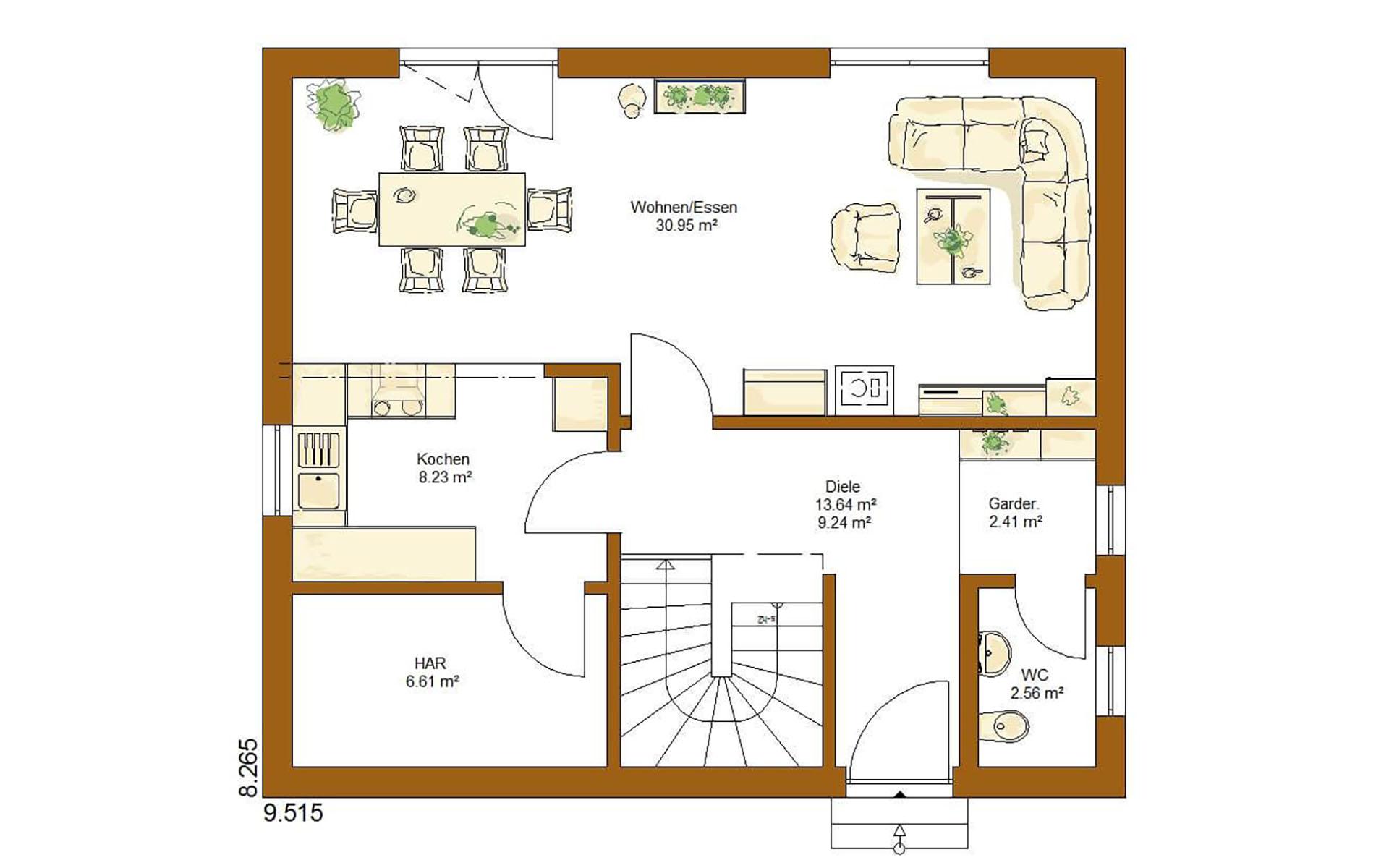 Erdgeschoss CLOU 123 (3 Giebel) von RENSCH-HAUS GMBH