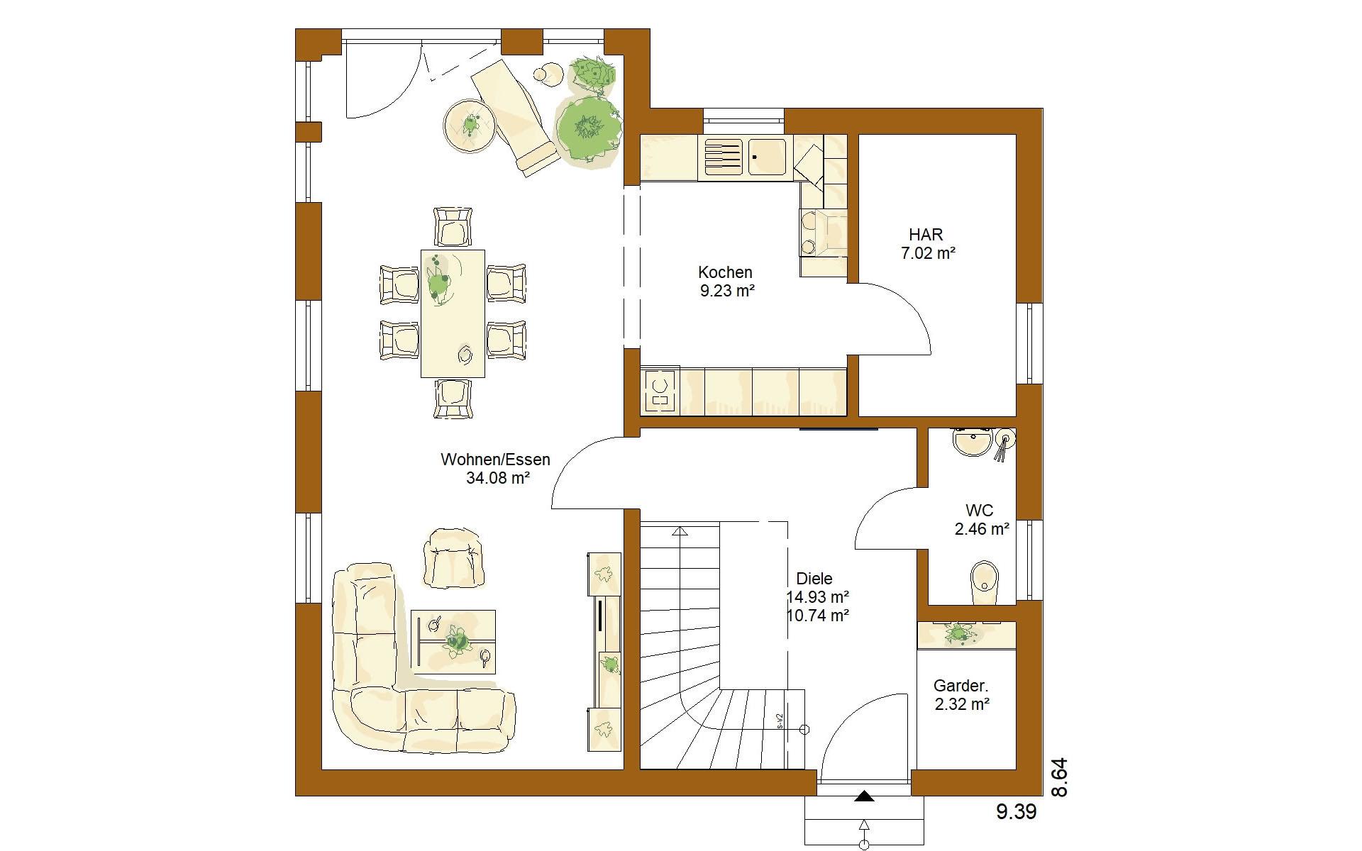 Erdgeschoss CLOU 125 von RENSCH-HAUS GMBH