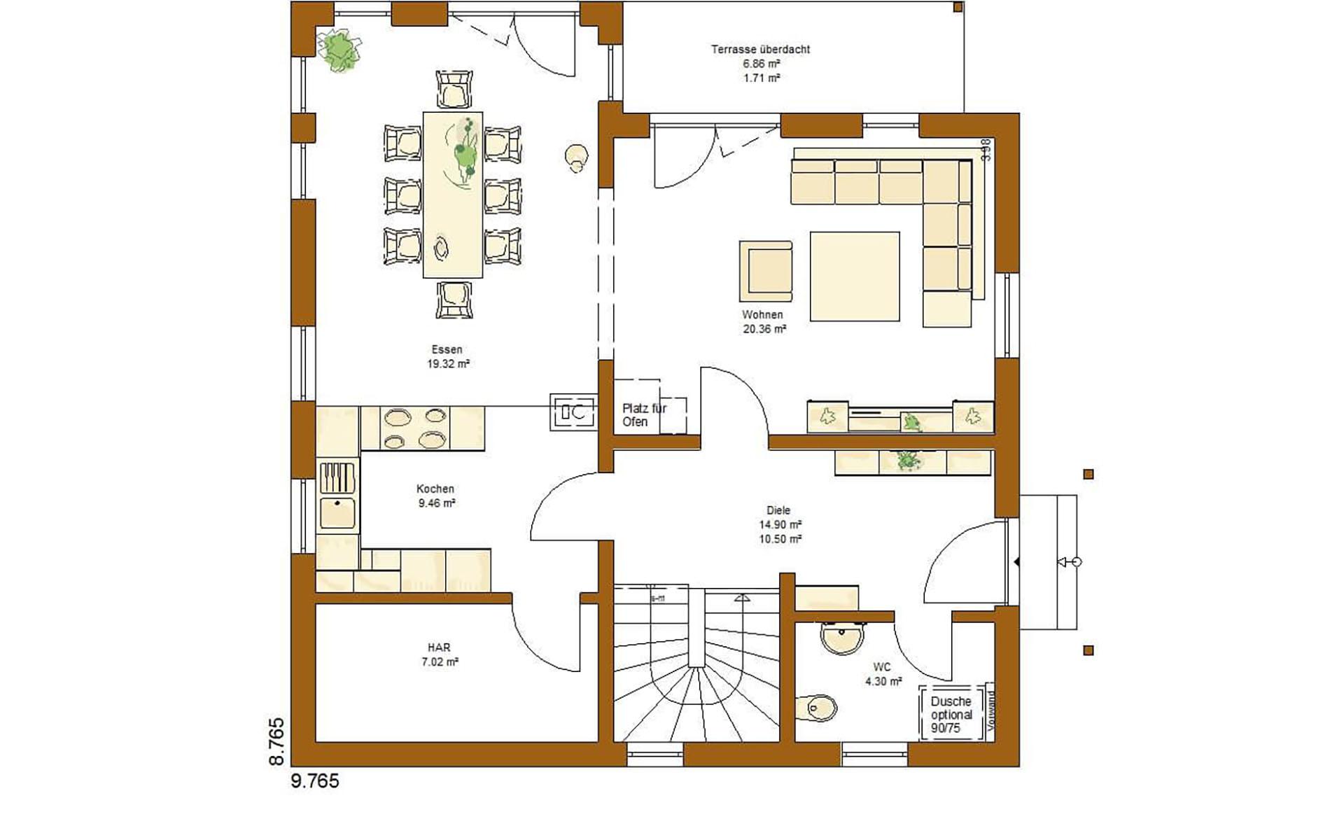 Erdgeschoss CLOU 135 (Walmdach) von RENSCH-HAUS GMBH