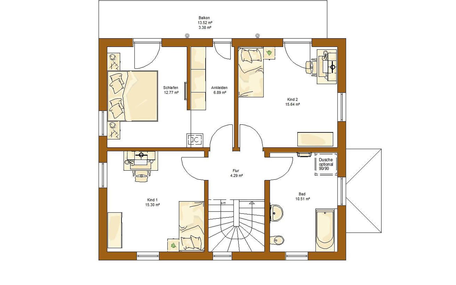 Obergeschoss CLOU 135 (Walmdach) von RENSCH-HAUS GMBH