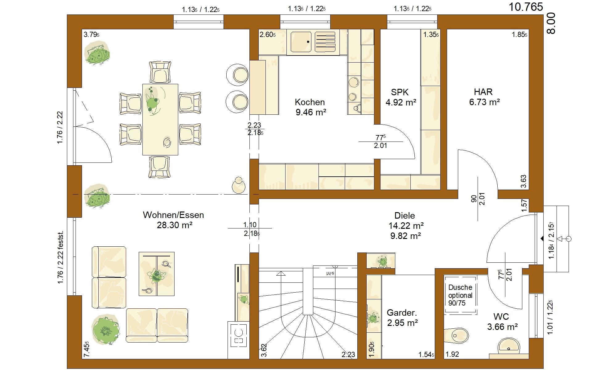 Erdgeschoss CLOU 136 von RENSCH-HAUS GMBH
