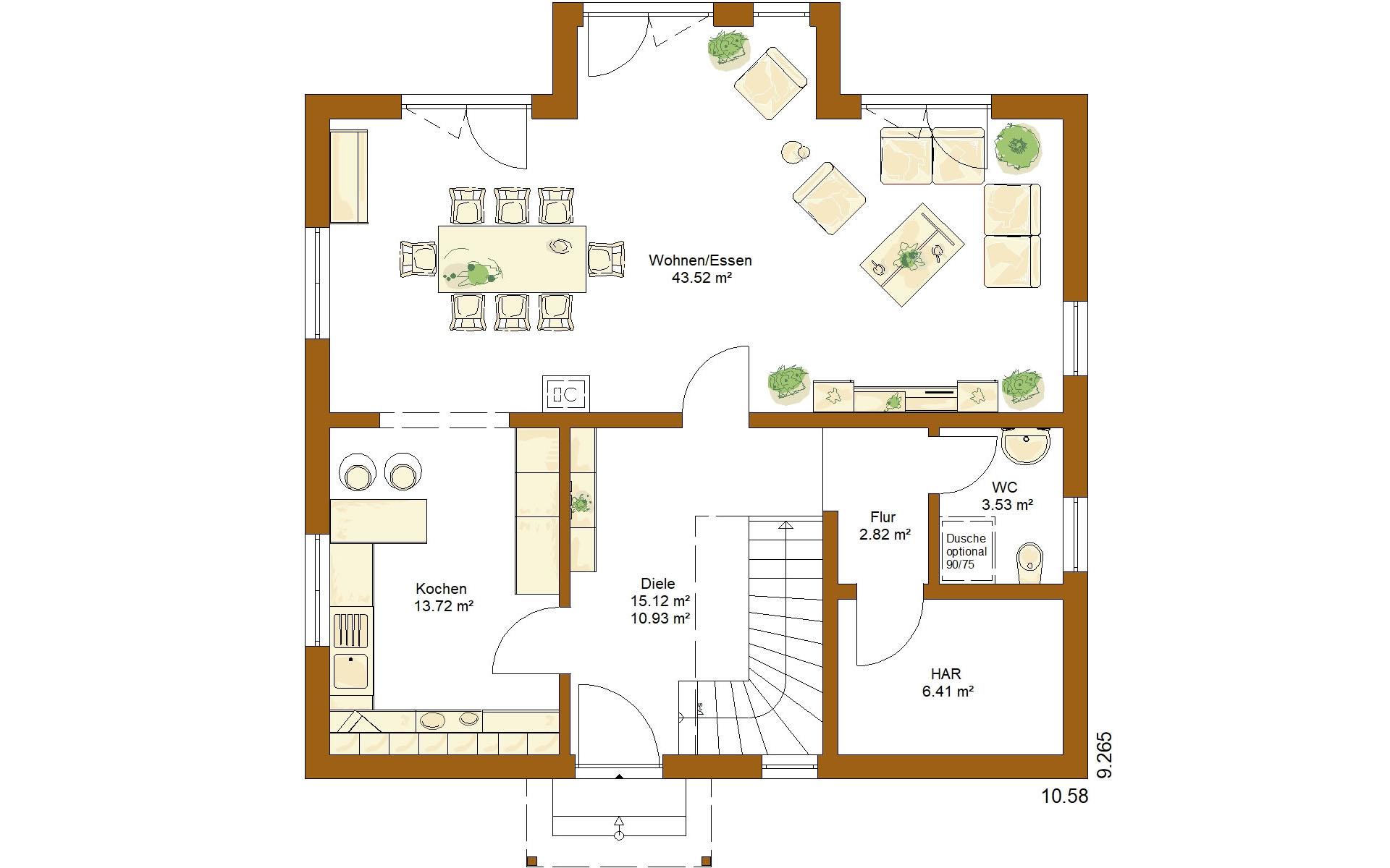 Erdgeschoss CLOU 157 Satteldach von RENSCH-HAUS GMBH