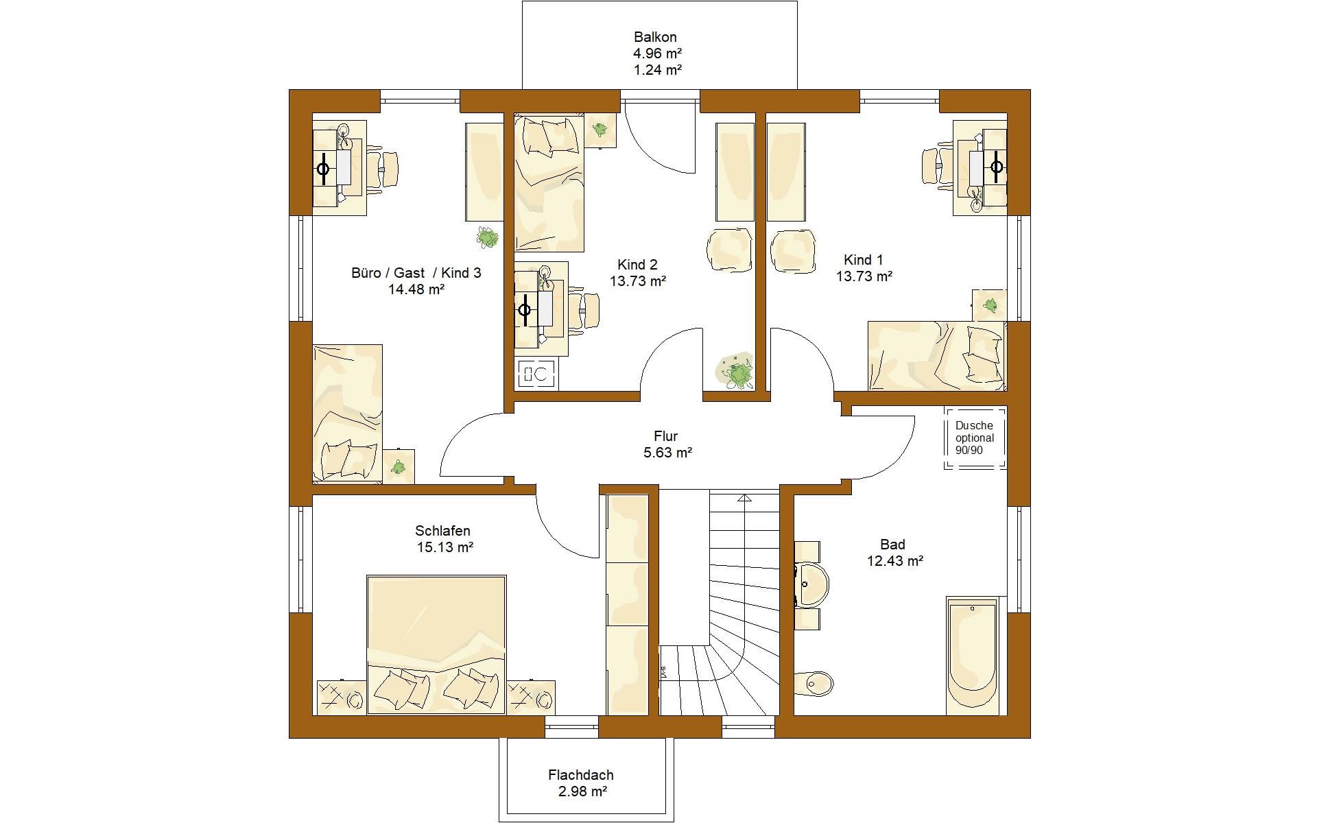 Obergeschoss CLOU 157 Satteldach von RENSCH-HAUS GMBH