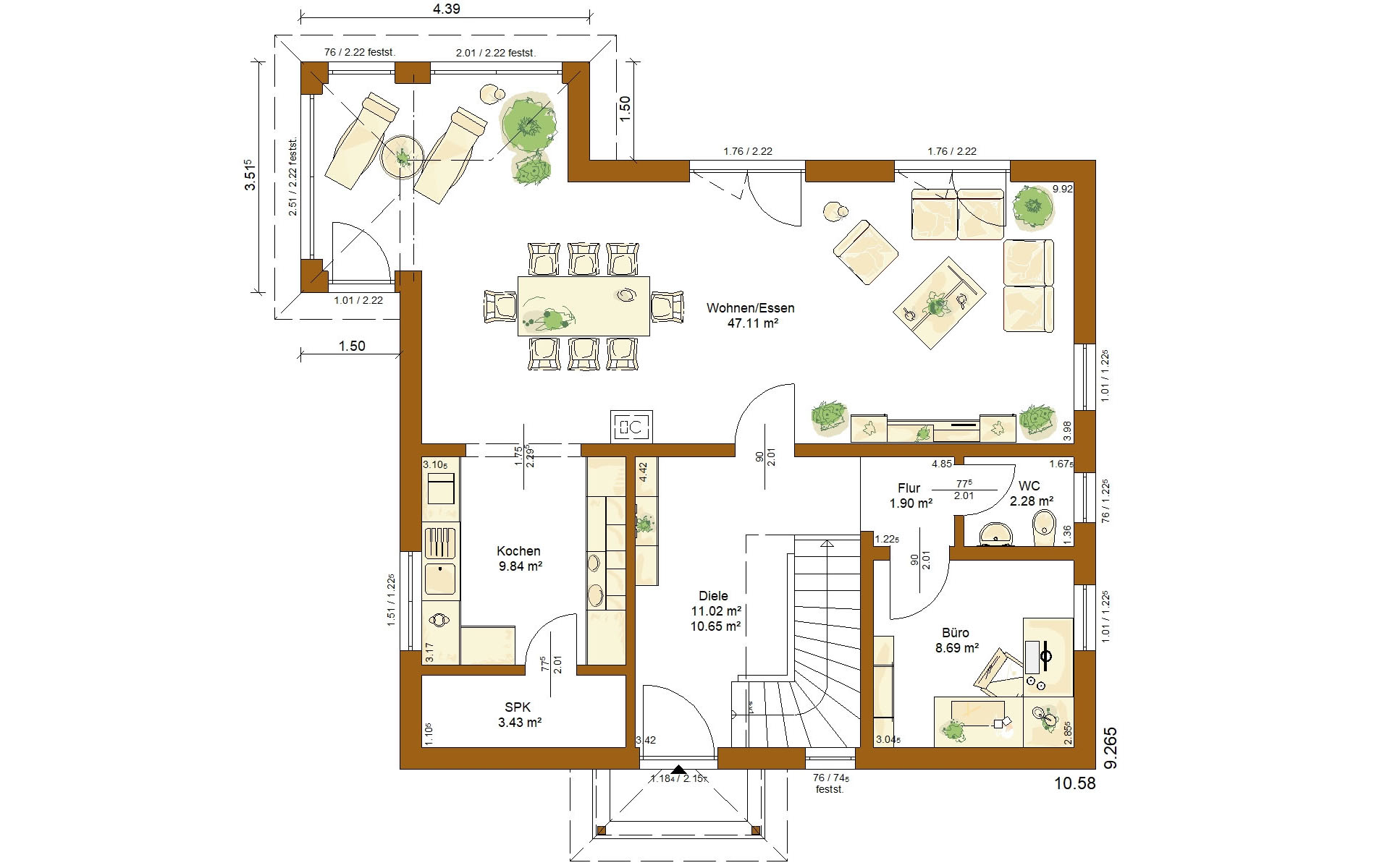 Erdgeschoss CLOU 157 Walmdach von RENSCH-HAUS GMBH