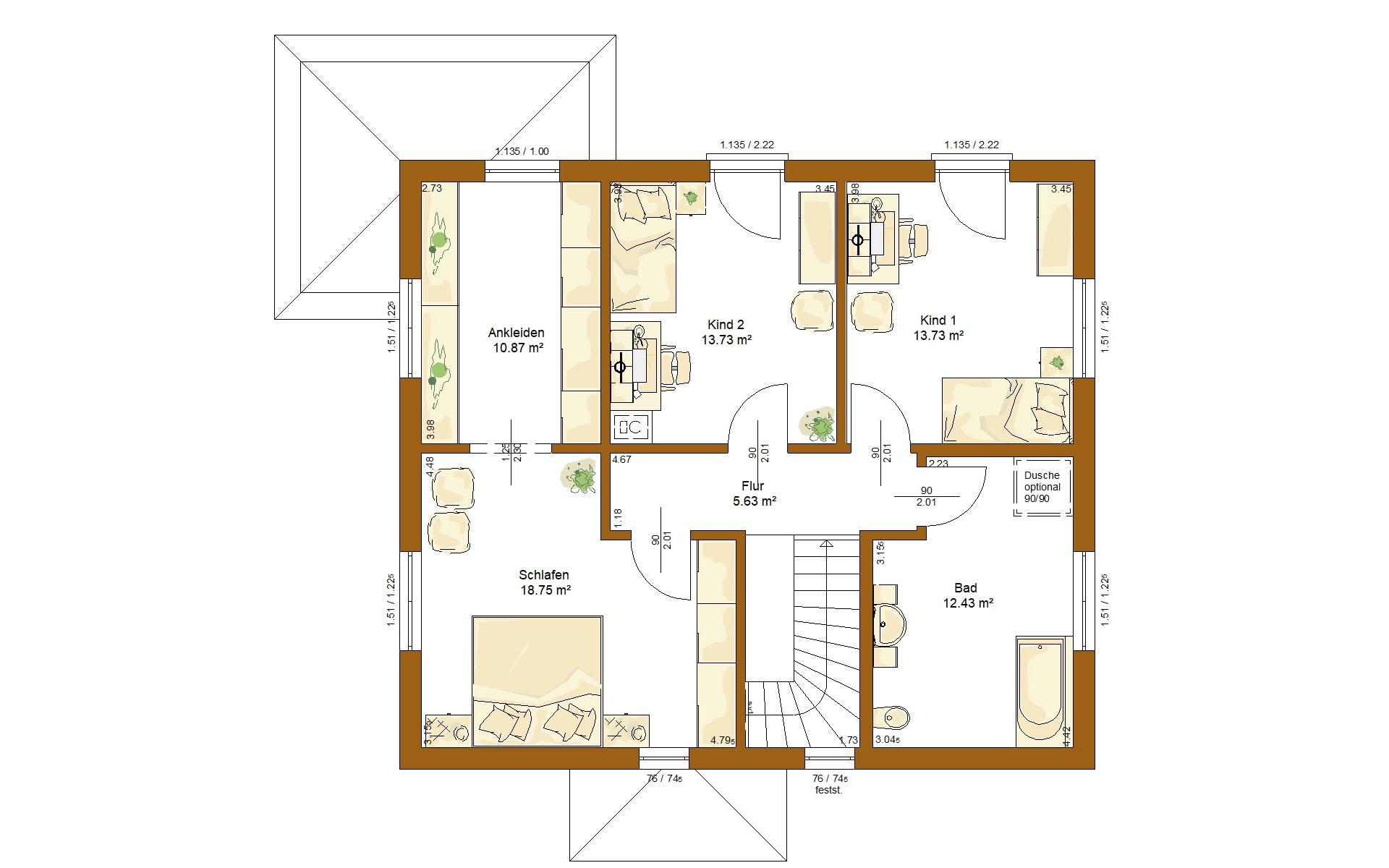 Obergeschoss CLOU 157 Walmdach von RENSCH-HAUS GMBH