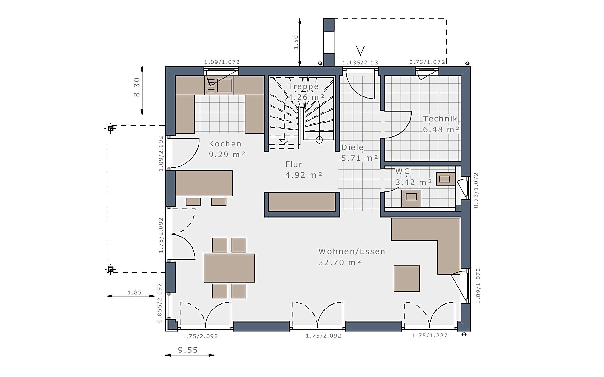 Erdgeschoss Sensation-E-132 E1 von Schwabenhaus GmbH & Co. KG