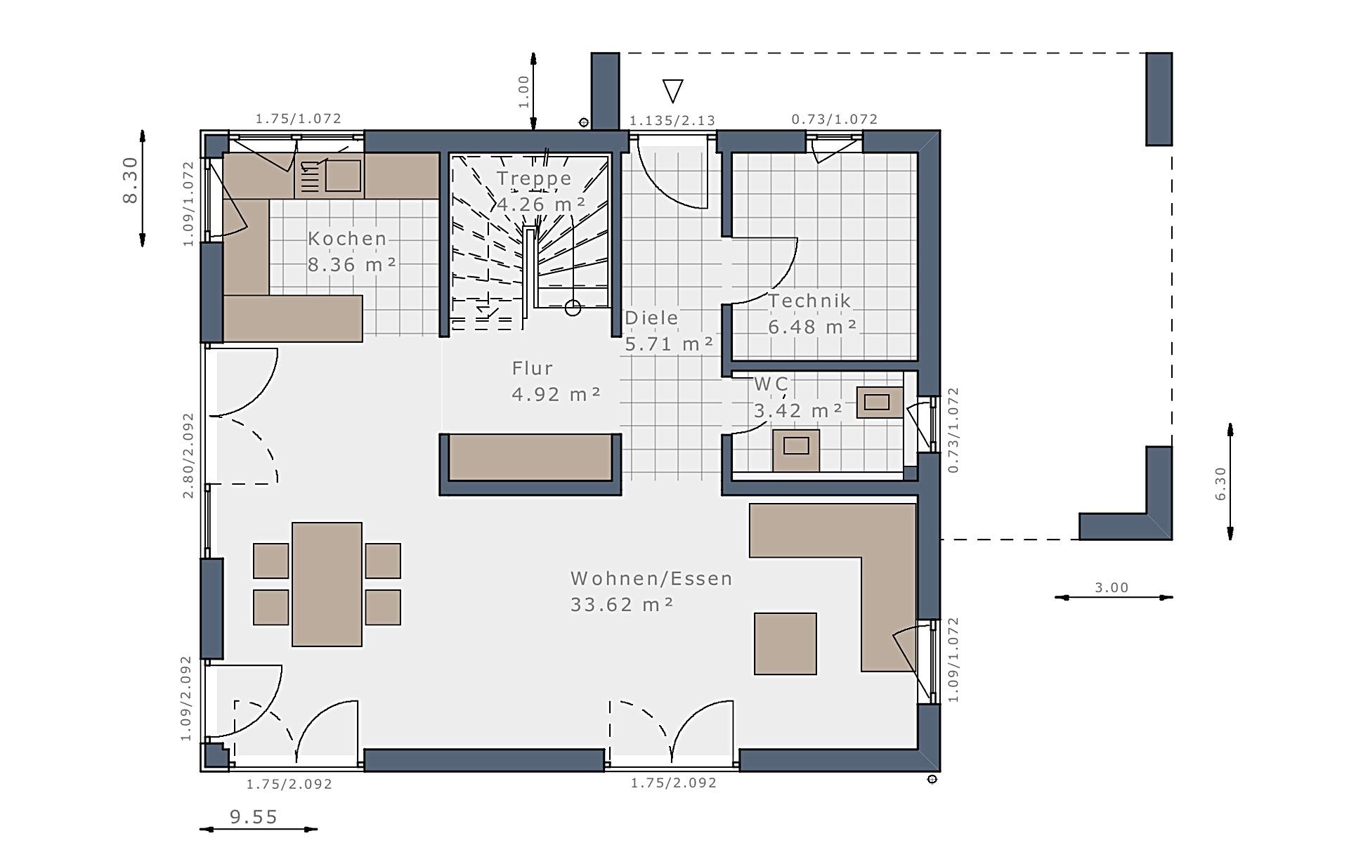 Erdgeschoss Sensation-E-132 E4 von Schwabenhaus GmbH & Co. KG