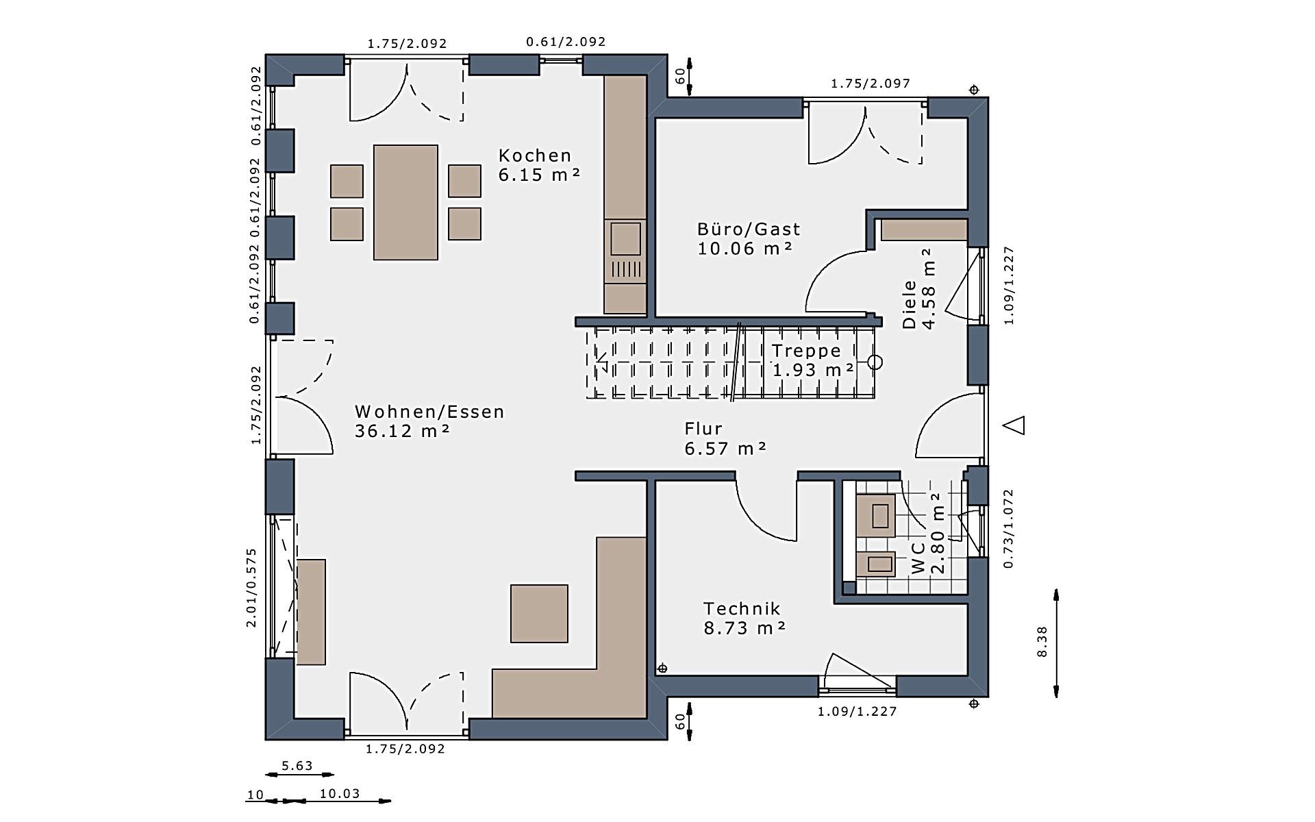 Erdgeschoss SmartSpace-E-140 E3 von Schwabenhaus GmbH & Co. KG