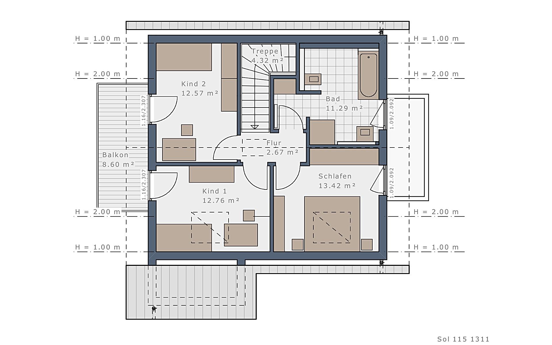 Dachgeschoss Solitaire-E-115 E2 von Schwabenhaus GmbH & Co. KG