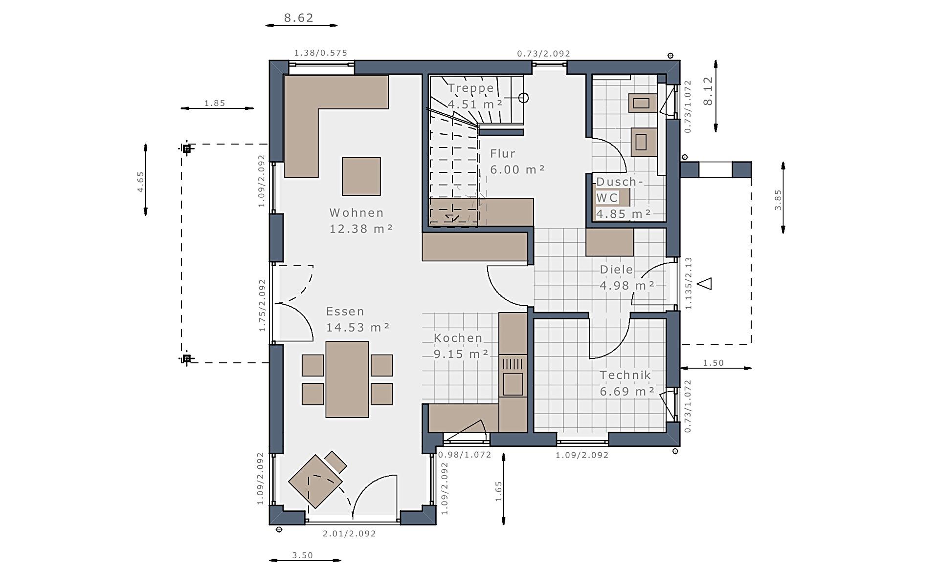 Erdgeschoss Solitaire-E-115 E2 von Schwabenhaus GmbH & Co. KG
