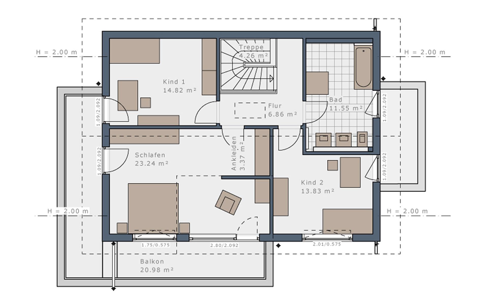 Dachgeschoss Solitaire-E-155 E4 von Schwabenhaus GmbH & Co. KG