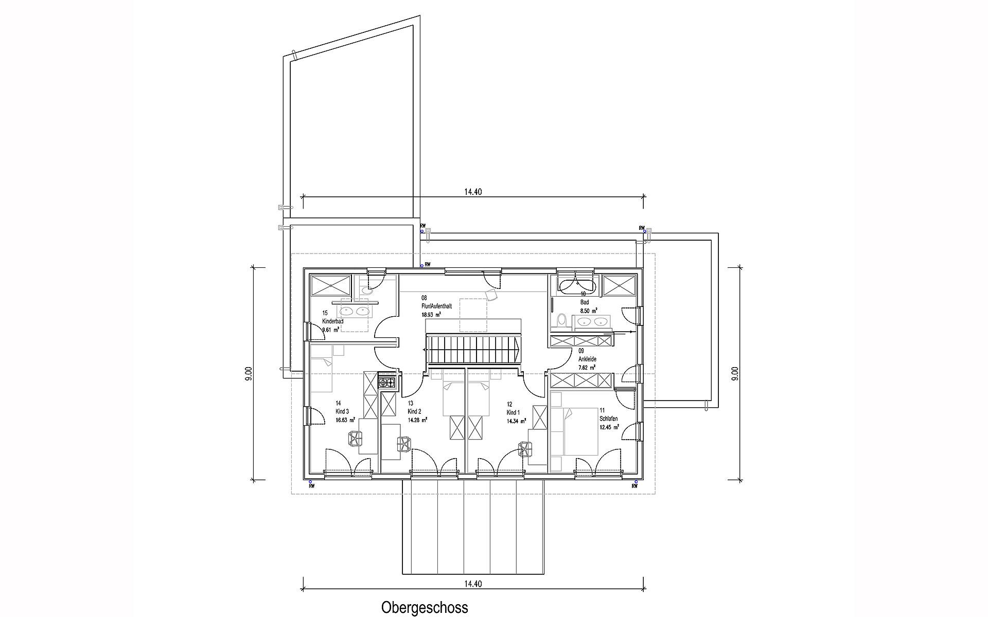 Obergeschoss Oberndorf von Sonnleitner Holzbauwerke GmbH & Co. KG