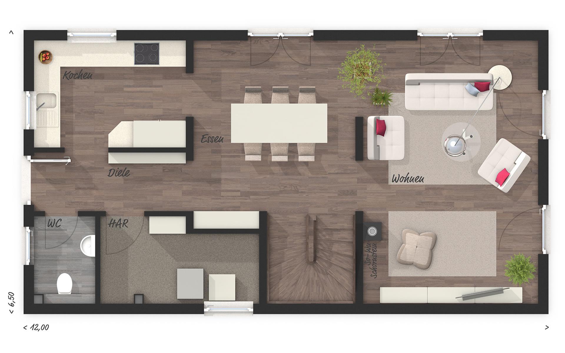 Erdgeschoss Stadthaus Aura 125 von Town & Country Haus Lizenzgeber GmbH