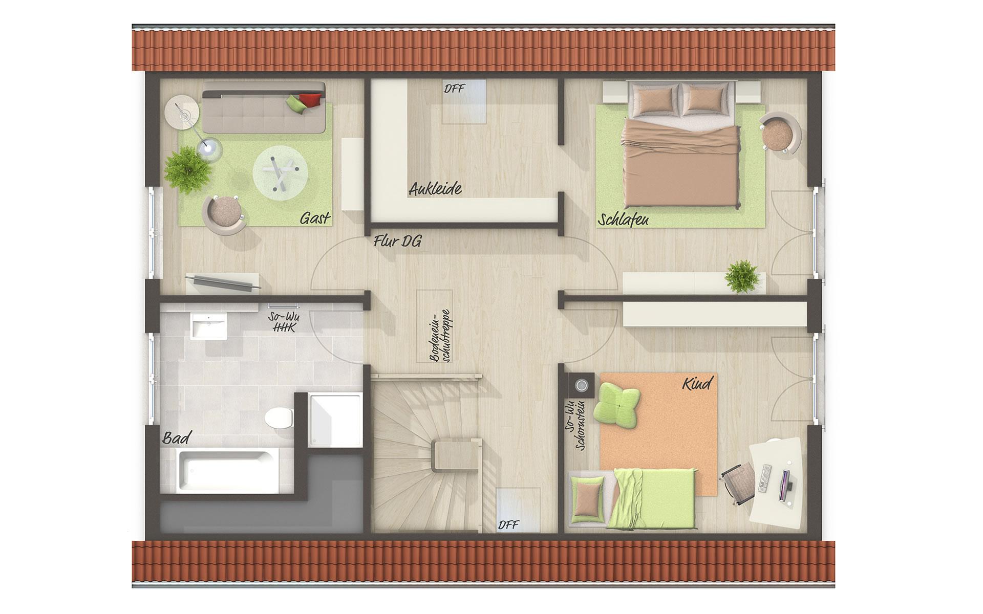 Dachgeschoss Bodensee 129 von Town & Country Haus Lizenzgeber GmbH