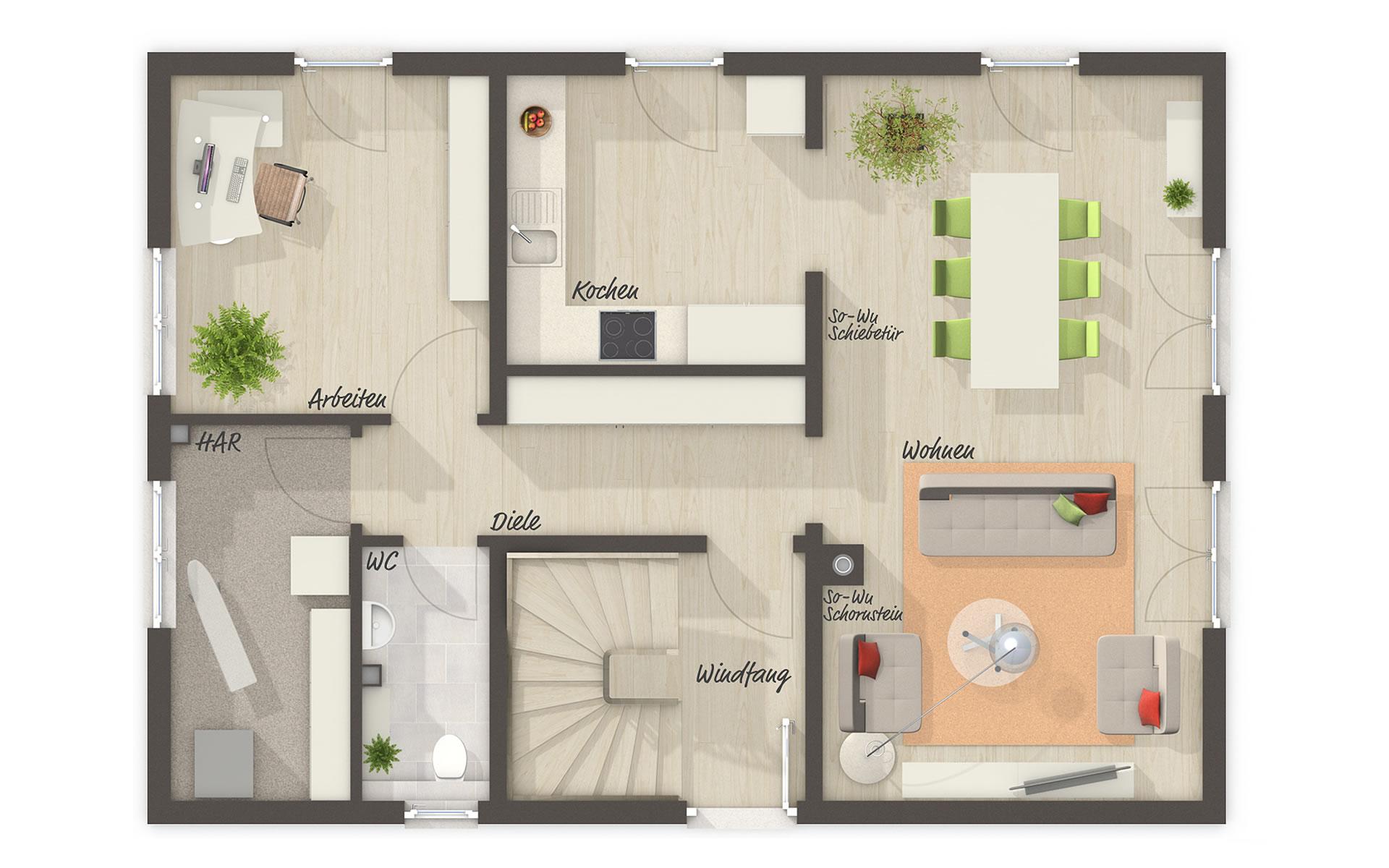 Erdgeschoss Bodensee 129 von Town & Country Haus Lizenzgeber GmbH