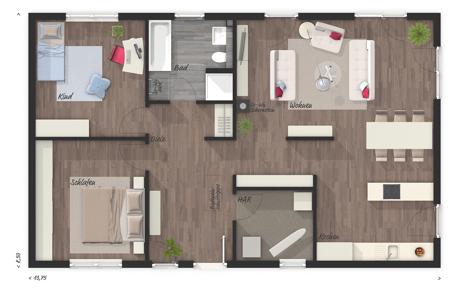 Erdgeschoss Bungalow 100 von Town & Country Haus Lizenzgeber GmbH