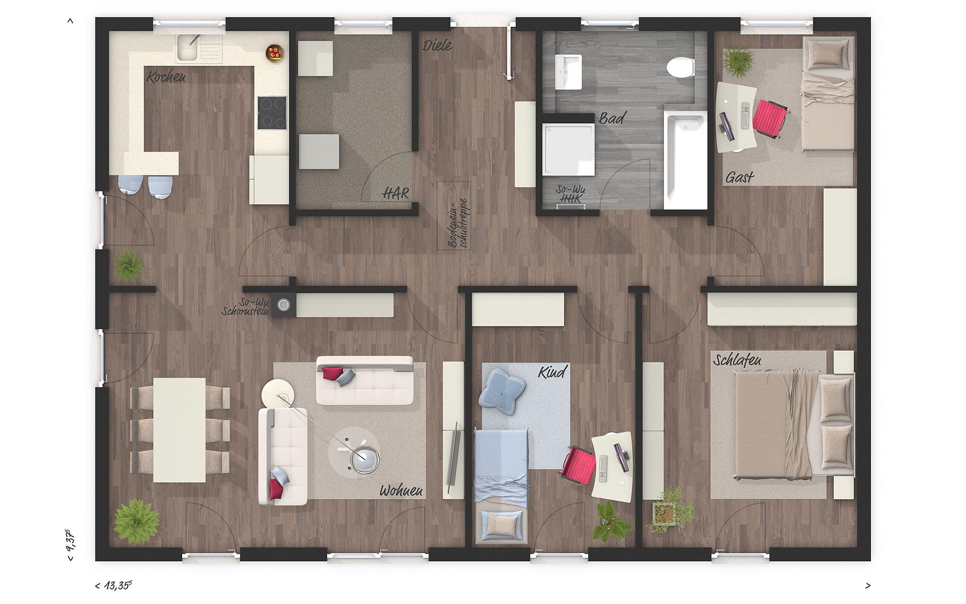 Erdgeschoss Bungalow 110 von Town & Country Haus Lizenzgeber GmbH