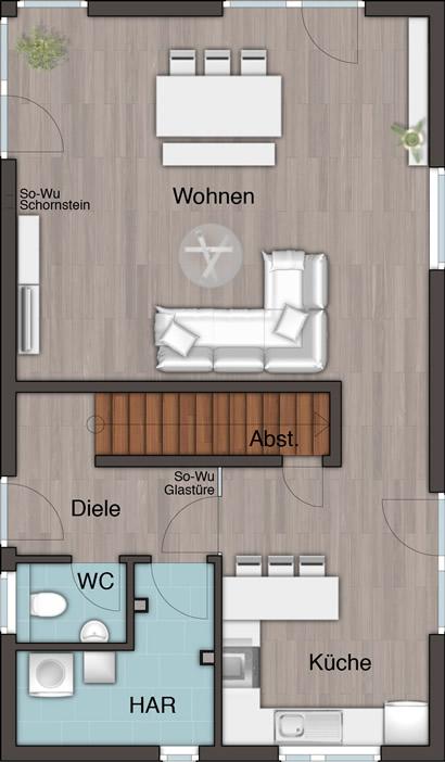 Erdgeschoss Doppellhaus City 136 von Town & Country Haus Lizenzgeber GmbH