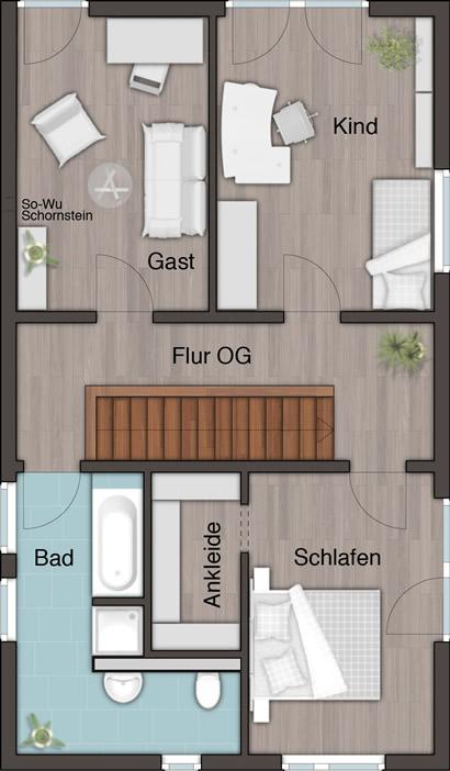 Obergeschoss Doppellhaus City 136 von Town & Country Haus Lizenzgeber GmbH