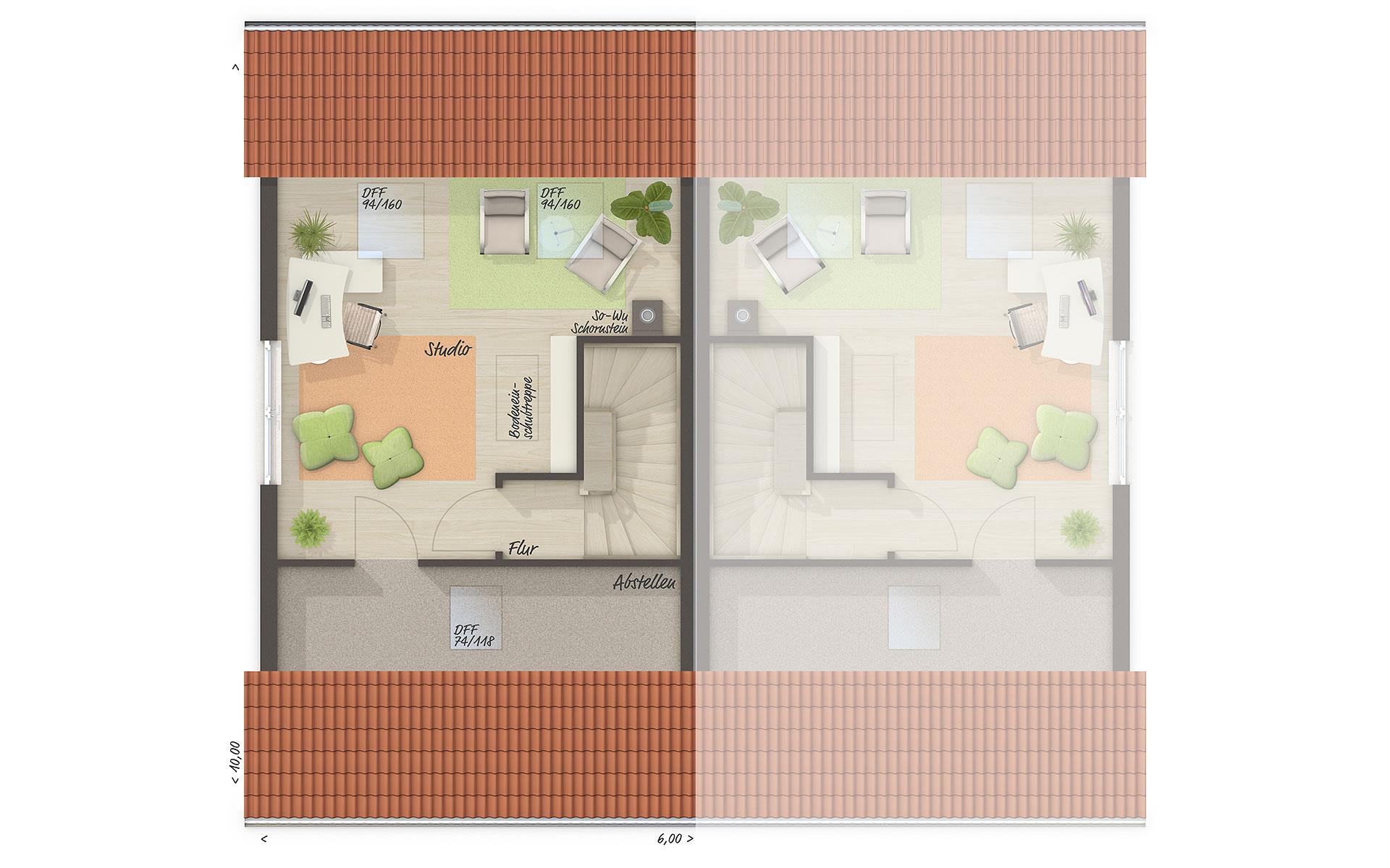 Dachgeschoss Doppelhaus Mainz 128 von Town & Country Haus Lizenzgeber GmbH