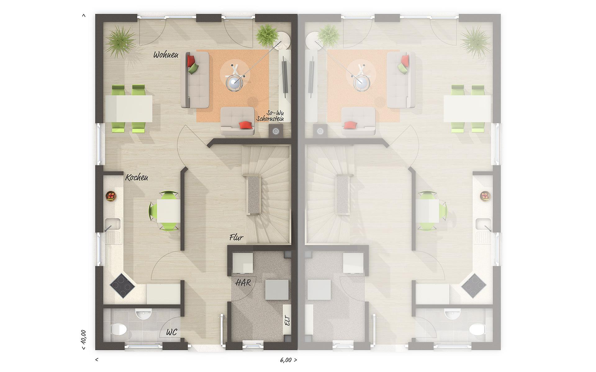 Erdgeschoss Doppelhaus Mainz 128 von Town & Country Haus Lizenzgeber GmbH