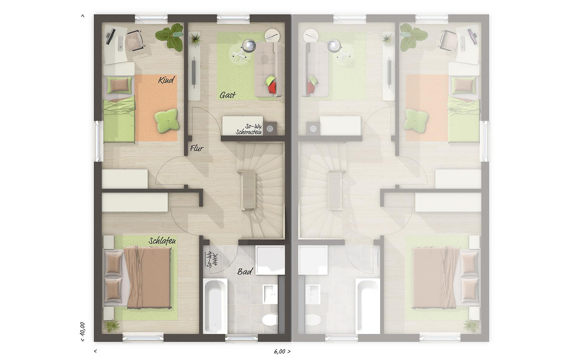 Obergeschoss Doppelhaus Mainz 128 von Town & Country Haus Lizenzgeber GmbH