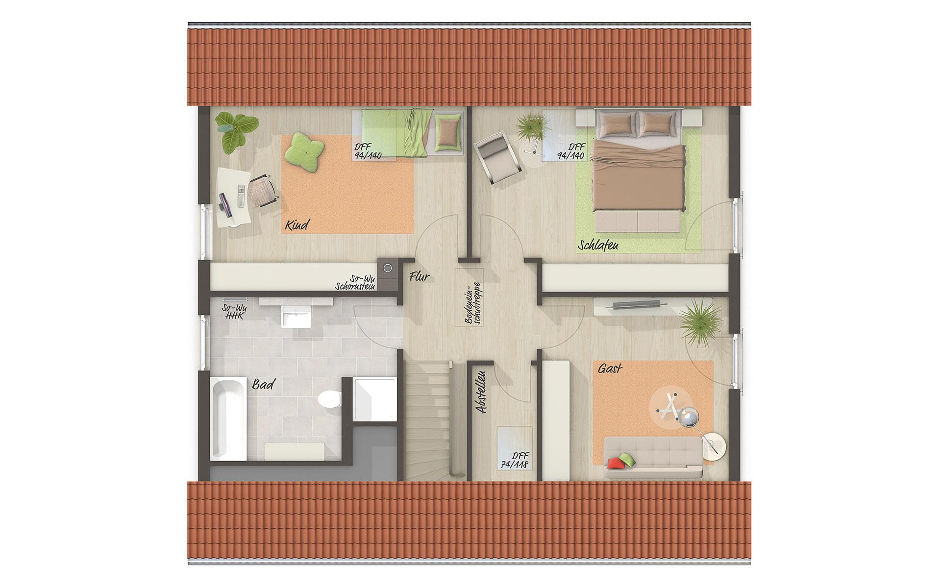 Dachgeschoss Flair 148 (Mitwachshaus) von Town & Country Haus Lizenzgeber GmbH