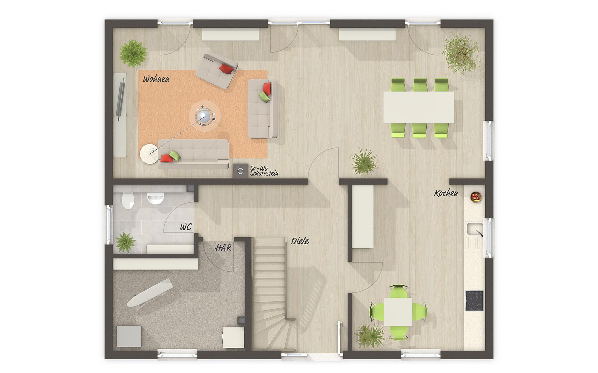 Erdgeschoss Flair 148 (Mitwachshaus) von Town & Country Haus Lizenzgeber GmbH