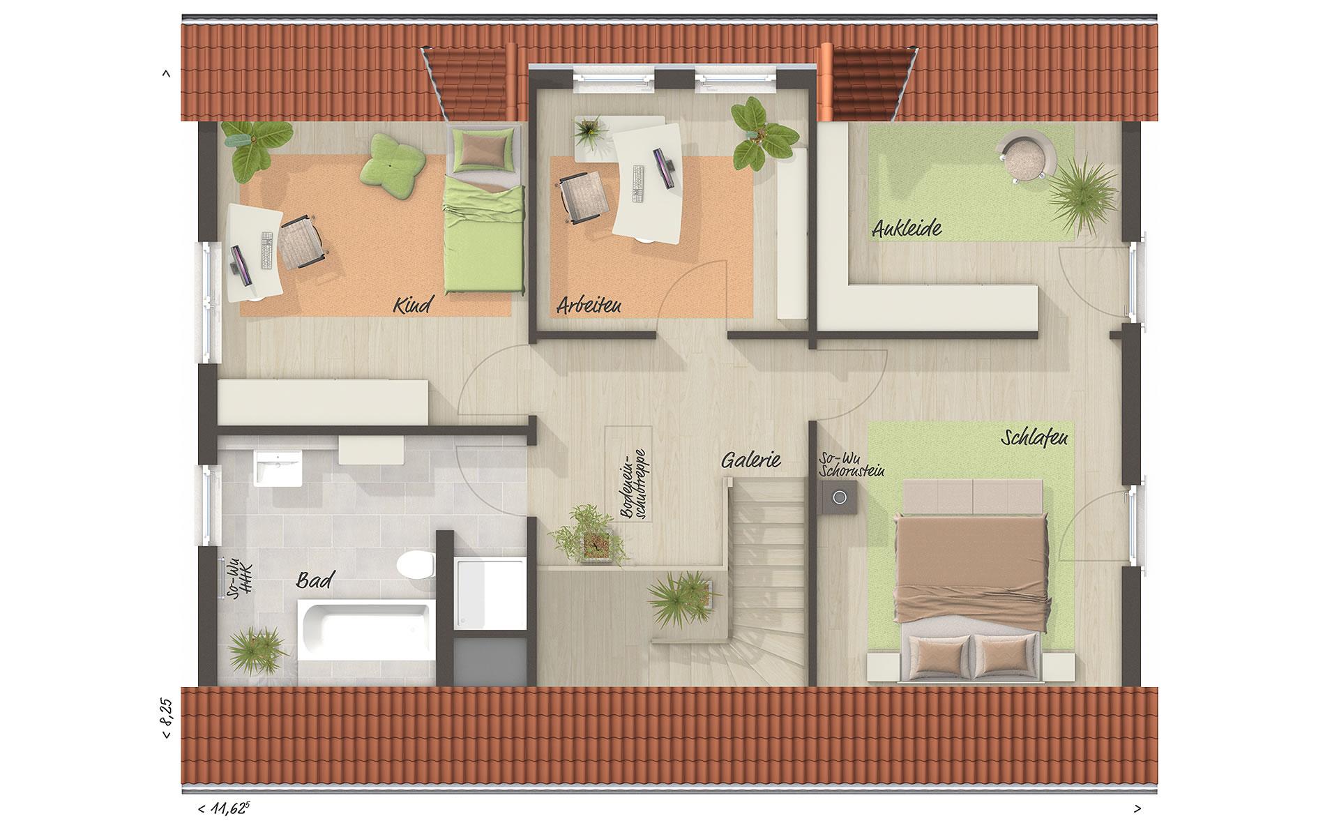 Dachgeschoss Landhaus 142 von Town & Country Haus Lizenzgeber GmbH