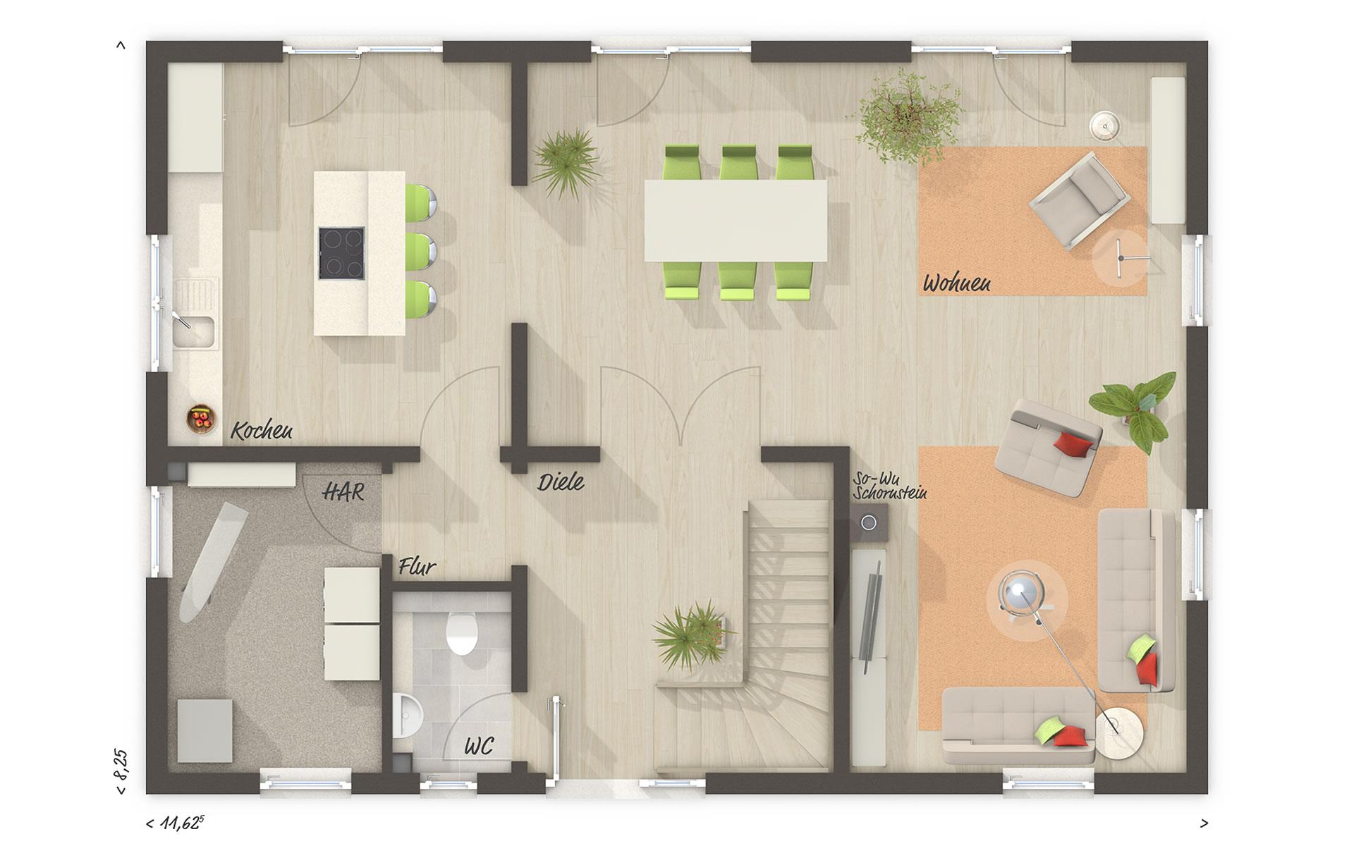 Erdgeschoss Landhaus 142 von Town & Country Haus Lizenzgeber GmbH