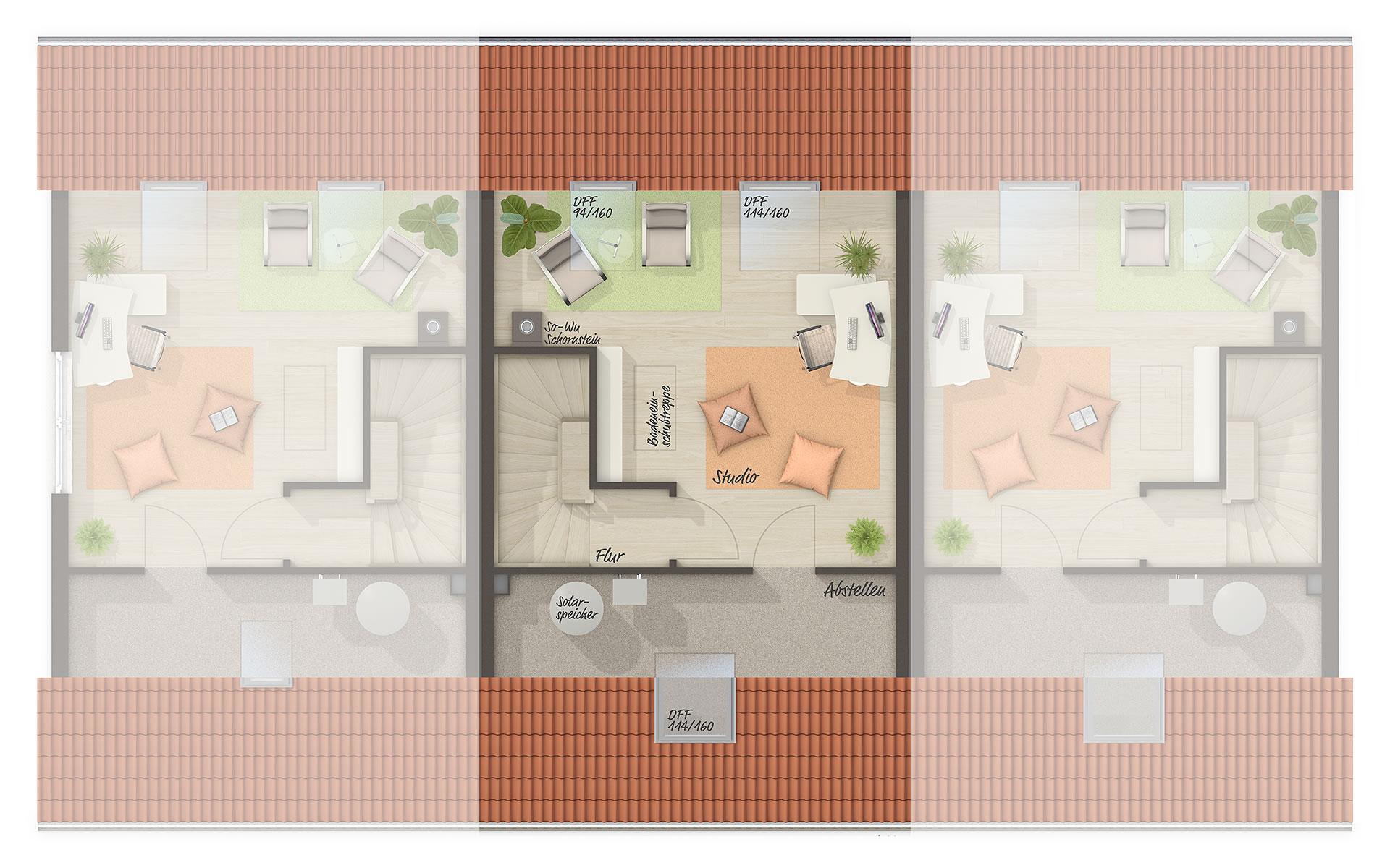 Dachgeschoss Reihenhaus Mainz 128 von Town & Country Haus Lizenzgeber GmbH