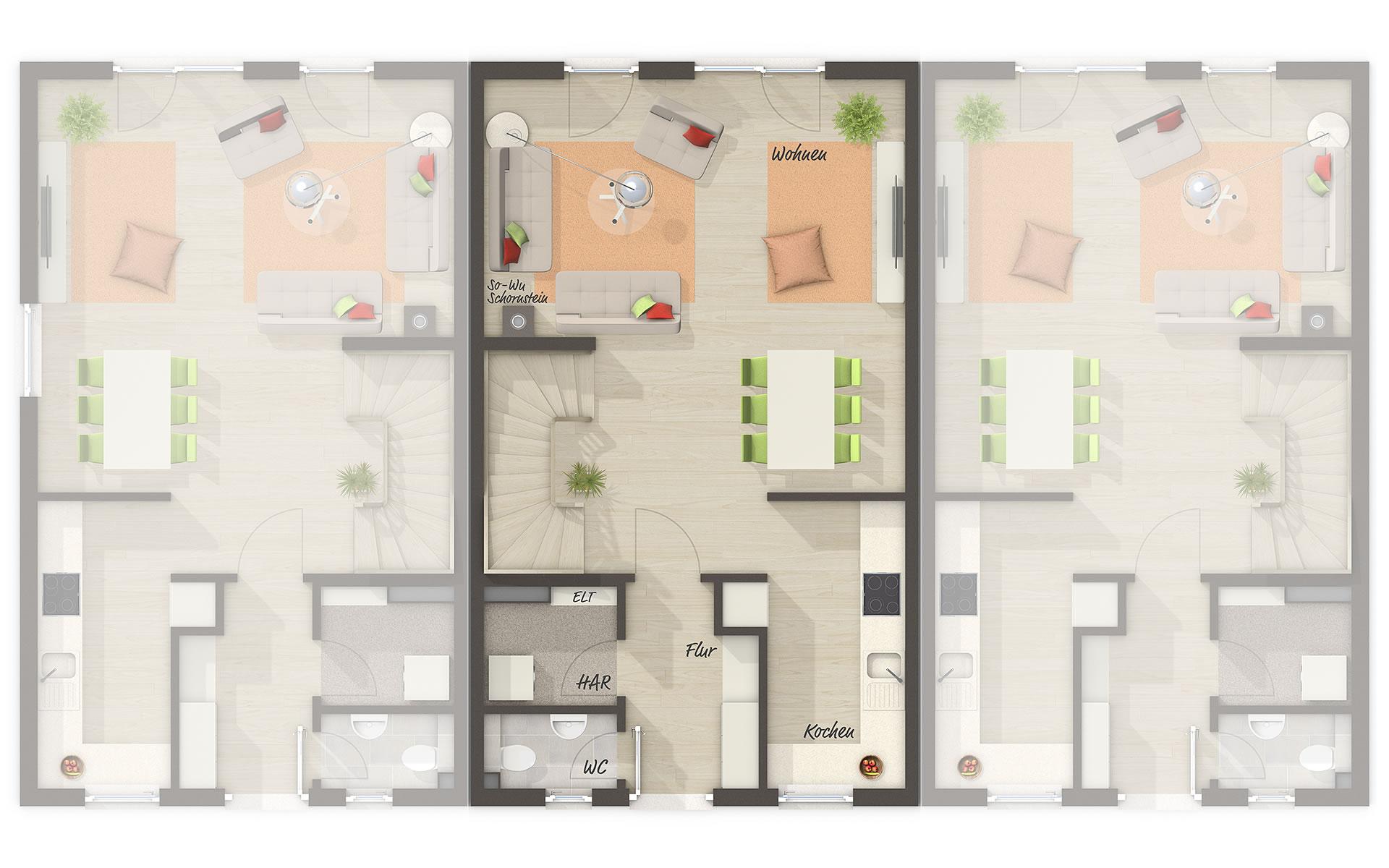 Erdgeschoss Reihenhaus Mainz 128 von Town & Country Haus Lizenzgeber GmbH
