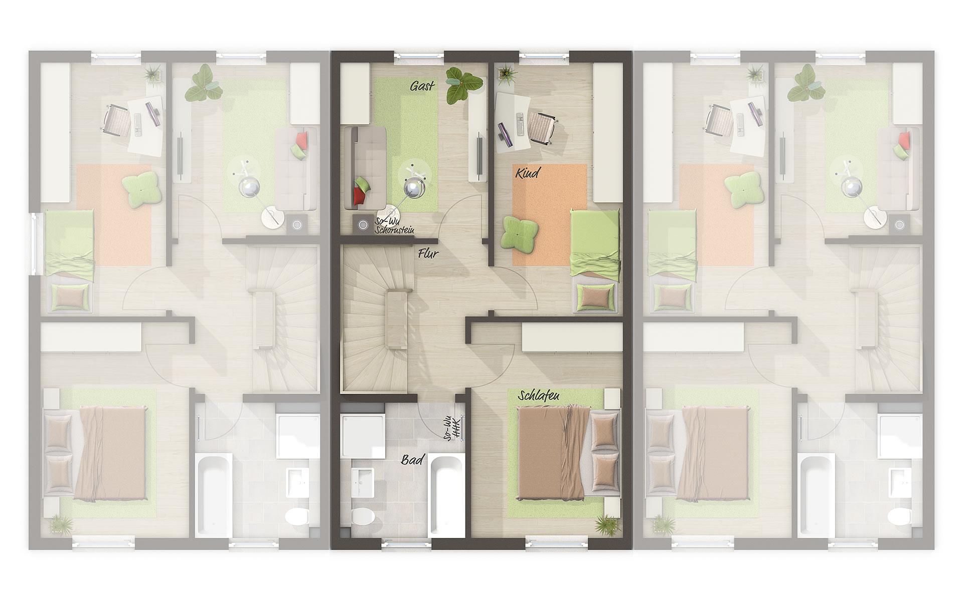 Obergeschoss Reihenhaus Mainz 128 von Town & Country Haus Lizenzgeber GmbH