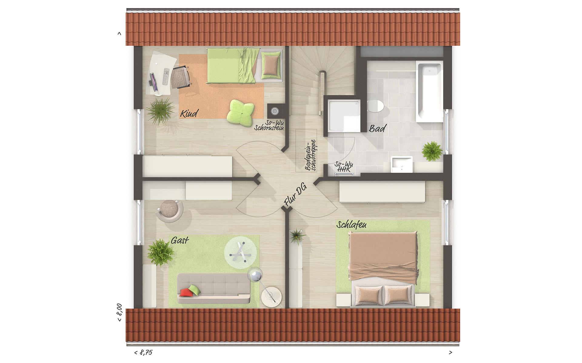 Dachgeschoss Raumwunder 100 von Town & Country Haus Lizenzgeber GmbH