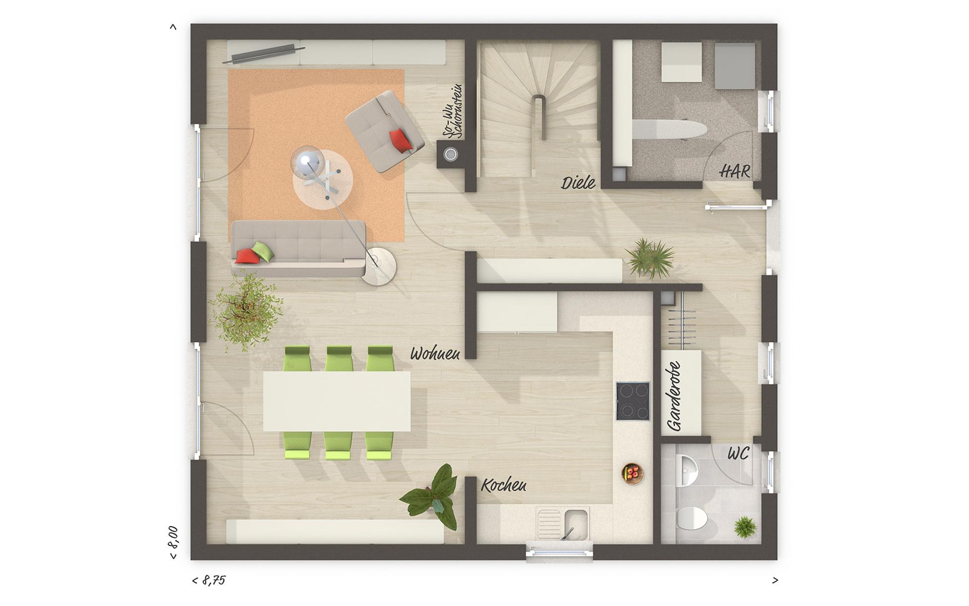 Erdgeschoss Raumwunder 100 von Town & Country Haus Lizenzgeber GmbH