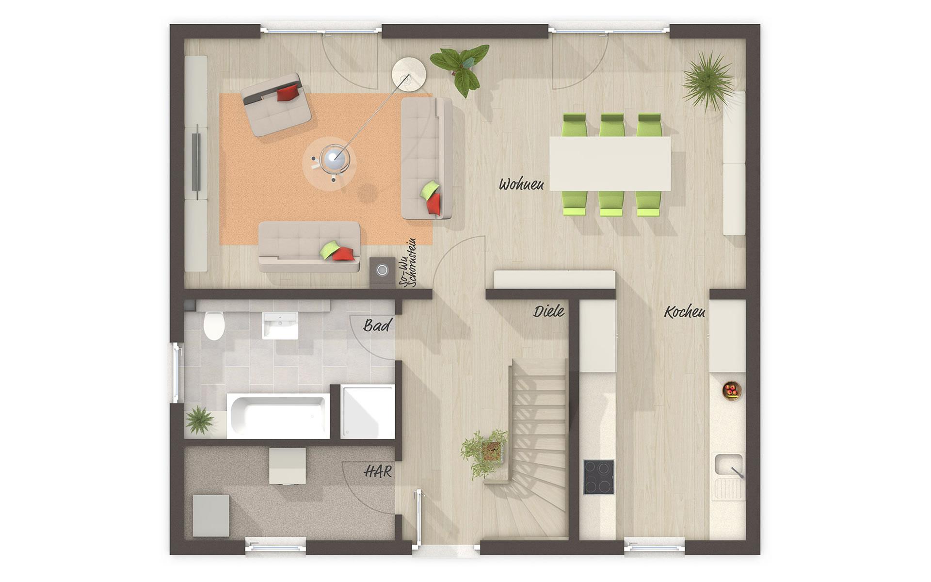 Erdgeschoss Aktionshaus Aspekt 133 von Town & Country Haus Lizenzgeber GmbH